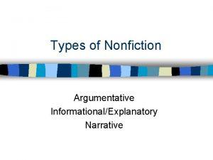Types of Nonfiction Argumentative InformationalExplanatory Narrative Nonfiction Genre