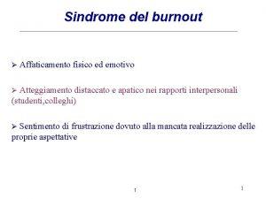 Sindrome del burnout Affaticamento fisico ed emotivo Atteggiamento