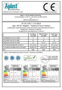 AEROQ Numro didentification 1840 SOCIETE APLAST WOOD INDUSTRY