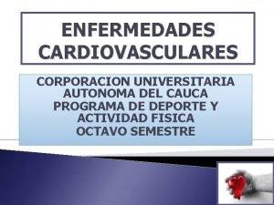 ENFERMEDADES CARDIOVASCULARES CORPORACION UNIVERSITARIA AUTONOMA DEL CAUCA PROGRAMA