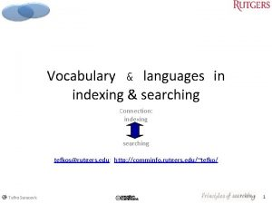 Vocabulary languages in indexing searching Connection indexing searching