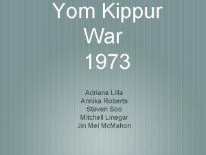 Yom Kippur War 1973 Adriana Lilla Annika Roberts