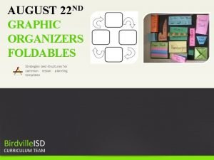 AUGUST 22 ND GRAPHIC ORGANIZERS FOLDABLES Strategies and