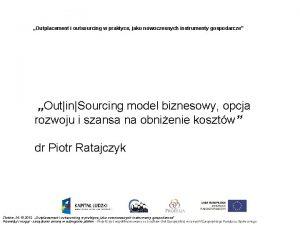Outplacement i outsourcing w praktyce jako nowoczesnych instrumenty