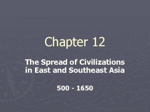 Chapter 12 The Spread of Civilizations in East