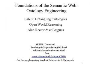 Foundations of the Semantic Web Ontology Engineering Lab