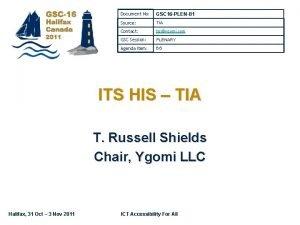 Document No GSC 16 PLEN81 Source TIA Contact