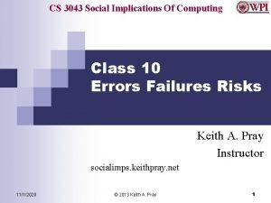 CS 3043 Social Implications Of Computing Class 10