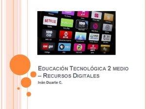 EDUCACIN TECNOLGICA 2 MEDIO RECURSOS DIGITALES Ivn Duarte