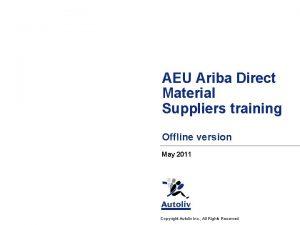 AEU Ariba Direct Material Suppliers training Offline version