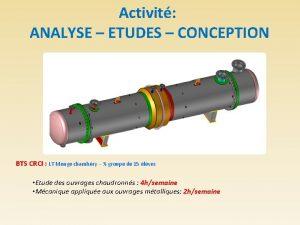 Activit ANALYSE ETUDES CONCEPTION BTS CRCI LT Monge