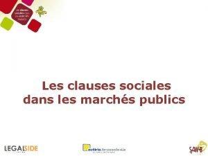 Les clauses sociales dans les marchs publics Table