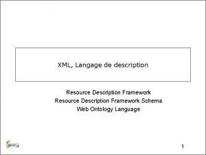 XML Langage de description Resource Description Framework Schema
