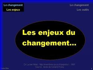 Le changement Les enjeux Les outils Les enjeux