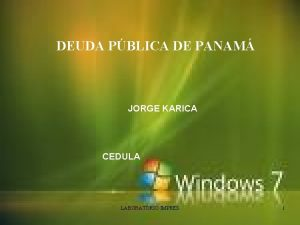 DEUDA PBLICA DE PANAM JORGE KARICA CEDULA LABORATORIO