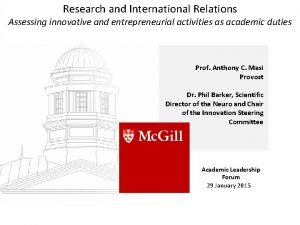 Research and International Relations Assessing innovative and entrepreneurial