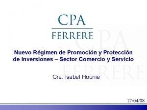 Nuevo Rgimen de Promocin y Proteccin de Inversiones