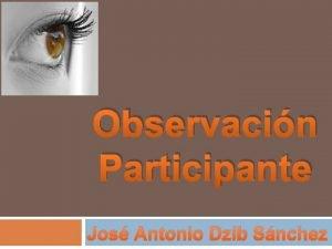 Observacin Participante Jos Antonio Dzib Snchez La Observacin