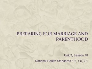 PREPARING FOR MARRIAGE AND PARENTHOOD Unit 3 Lesson