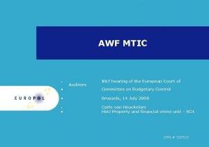 AWF MTIC Auditors VAT hearing of the European