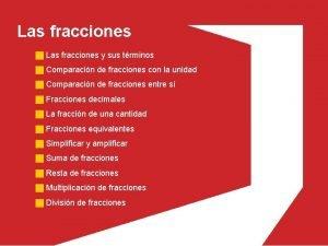 Las fracciones y sus trminos Comparacin de fracciones
