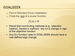 GOALSEEK Part of Standard Excel Installation Finds the