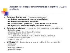 Indication des Thrapies comportementales et cognitives TCC en