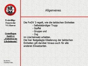 Allgemeines Freiwillige Feuerwehr VG Ruwer Grundlagen Fw DV