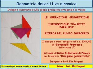 Geometria descrittiva dinamica Indagine insiemistica sulla doppia proiezione