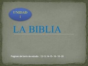 LA BIBLIA Paginas del texto de estudio 12