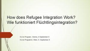 How does Refugee Integration Work Wie funktioniert Flchtlingsintegration
