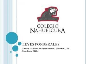 LEYES PONDERALES Fuente Archivos de departamento Qumica 1