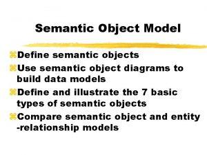 Semantic Object Model z Define semantic objects z