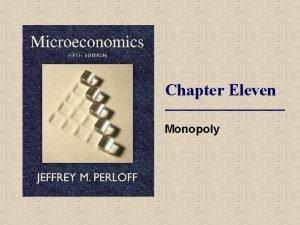 Chapter Eleven Monopoly Topics Monopoly Profit Maximization Effects