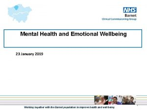 Mental Health and Emotional Wellbeing 23 January 2019