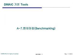 DMAIC Tools A7 Benchmarking SAMSUNG Six Sigma Academy