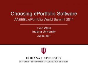 Choosing e Portfolio Software AAEEBL e Portfolio World