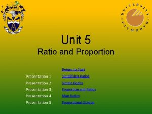 Unit 5 Ratio and Proportion Return to Start