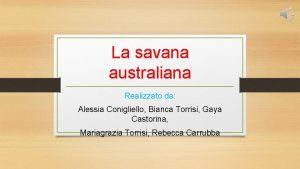 La savana australiana Realizzato da Alessia Conigliello Bianca