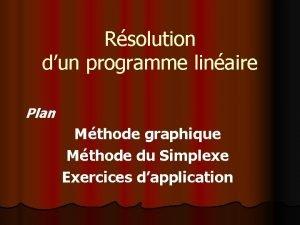 Rsolution dun programme linaire Plan Mthode graphique Mthode