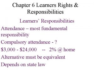 Chapter 6 Learners Rights Responsibilities Learners Responsibilities Attendance