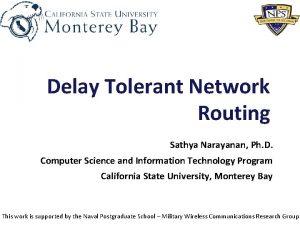 Delay Tolerant Network Routing Sathya Narayanan Ph D