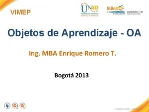 VIMEP Objetos de Aprendizaje OA Ing MBA Enrique
