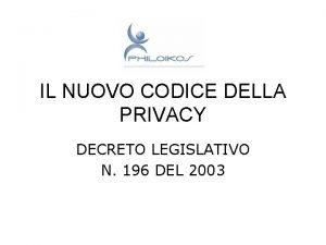 IL NUOVO CODICE DELLA PRIVACY DECRETO LEGISLATIVO N