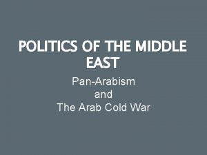 POLITICS OF THE MIDDLE EAST PanArabism and The