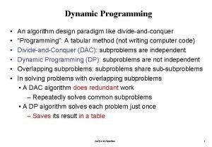 Dynamic Programming An algorithm design paradigm like divideandconquer