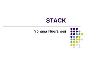 STACK Yohana Nugraheni Pengertian STACK l l STACK