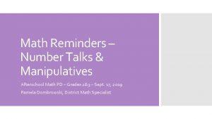 Math Reminders Number Talks Manipulatives Afterschool Math PD