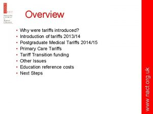 Why were tariffs introduced Introduction of tariffs 201314