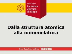 Dalla struttura atomica alla nomenclatura Struttura elettronica e